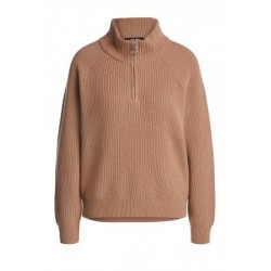 PULL 68872 MAILLE COL ZIP CAMEL