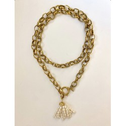 COLLIER FORSA GROSSE MAILLE POMPON PERLE EAU DOUCE OR