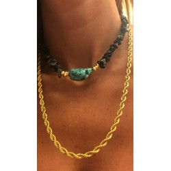 COLLIER LUXE CAILLOUX+TURQUOISE