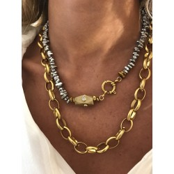 COLLIER LUNE GROSSE MAILLE OR