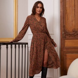 ROBE GERMAINE CACHE COEUR BOUTONS PRINT CASHMERE ROUGE